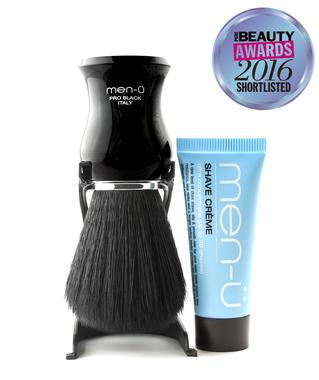 Помазок для гоління Men-U PRO BLACK shaving brush з підставкою та кремом