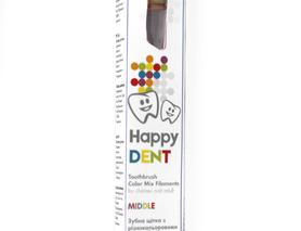 Зубна щітка Happy Dent з різнокольоровими щетинами