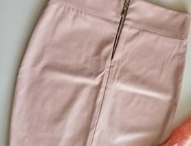 Шикарная розовая мини юбка кожзам, пудра, эко-кожа